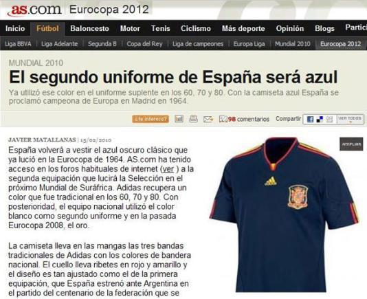 Reprodução  . Segunda camisa da Espanha para o Mundial 6603d0bbbd943