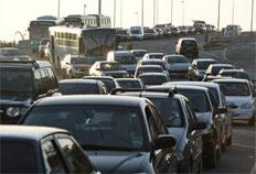 Congestionamento no elevado do Trevo da Seta no sentido Centro/Bairro-Jessé Giotti