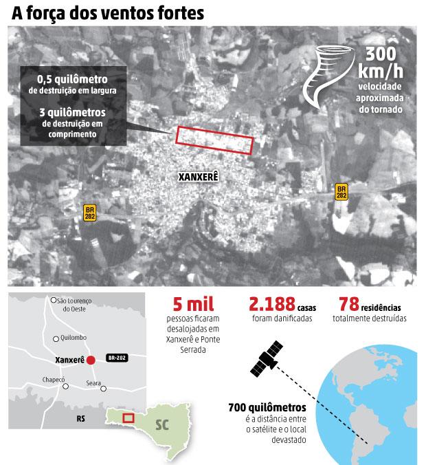Satlite registra imagens do tornado de Xanxer  A Notcia
