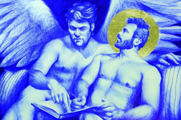Trabalhos mostram um olhar sobre a figura dos santos, retratando nus masculinos
